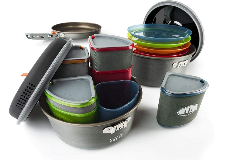 GSI Outdoors Pinnacle Camper Cooking + Mess Kit for 2-4
