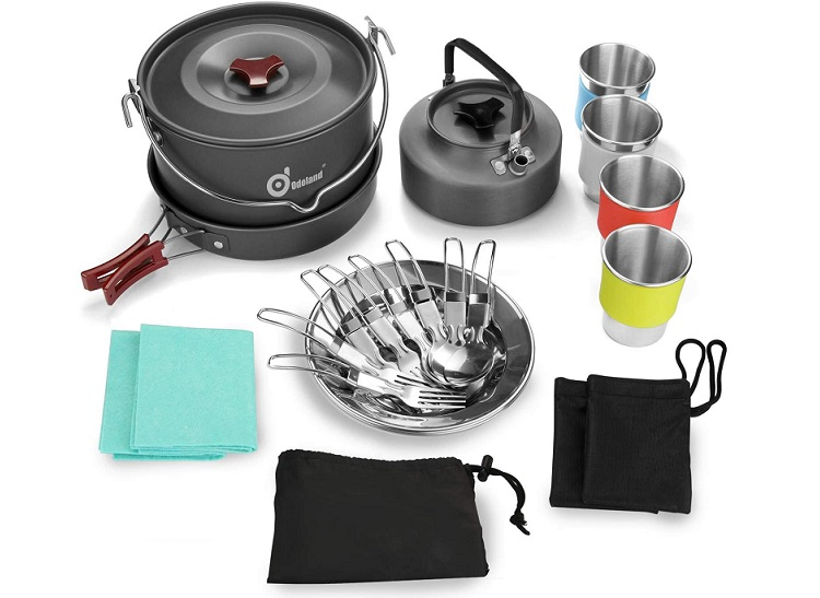 Odoland 22pcs Camping Cookware Mess Kit for 4 people