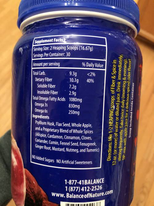 Balance of Nature Fiber & Spice label