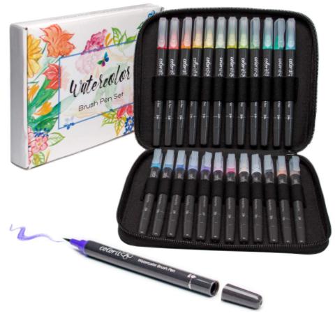 ColorIt Refillable Watercolor Brush Pens Set