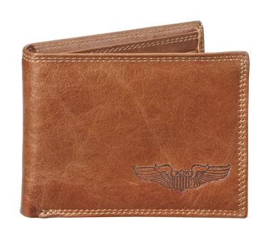 Debossed Pilot Wings Genuine Leather Wallet