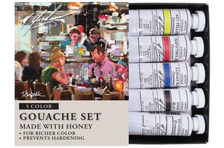 M. Graham 5 Color Gouache Paint Primary Set