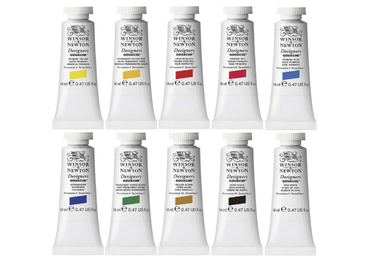 Winsor & Newton Designers' Gouache Primary Color Paint Set