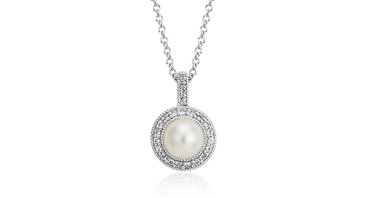 Blue Nile Vintage-Inspired Freshwater Cultured Pearl And White Topaz Halo Pendant