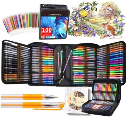 Fine Tip Glitter Gel Pens with Canvas Bag